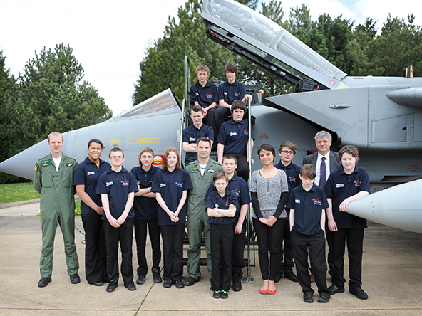 Imagery taken of the 'Blue Skies' visit to IX(B) Sqn yesterday the 30th April 2013. Squadron Leader James Gross showed Dr Emma Egging from the Jon Egging Trust (JET), Deputy Head of Downham Market High School Mr Martin Moss and a group of keen students around the Squadron based at RAF Marham in Norfolk. The students got to see Tornado aircraft starting up, taxy and taking off. Sqn Ldr Gross and Flight Lieutenant Ian Snelling explained all about the Tornado aircraft to the students who were certainly very keen in asking questions and learning about life as a pilot.