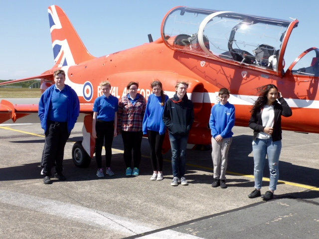 Red Arrows fly into RAF Valley to meet Blue Skies students