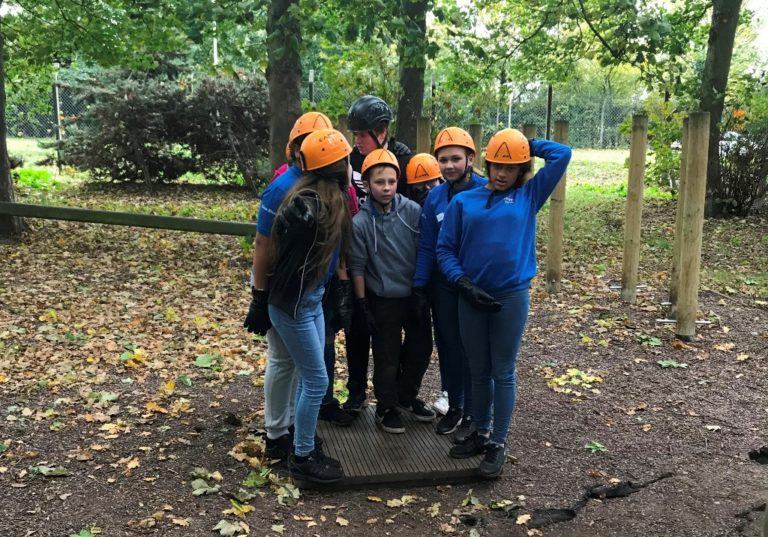 Teamwork and confidence building on the low ropes
