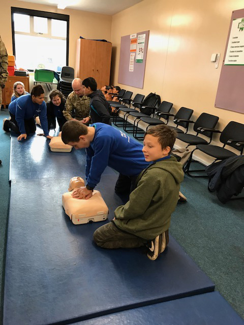Blue Skies Students are given a first aid lesson