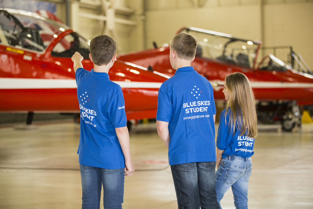 Jon Egging Trust Blue Skies Students with Red Arrows Jets in Hangar