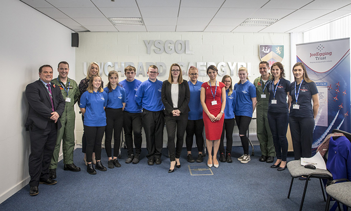 Welsh government's Cabinet Secretary for Education meets Blue Skies Students at Holyhead School