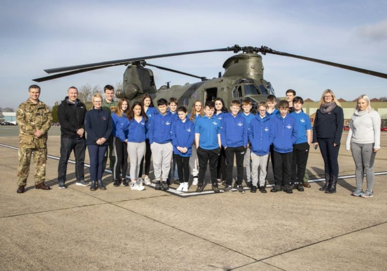 Students experience Blue Skies in a Chinook helicopter