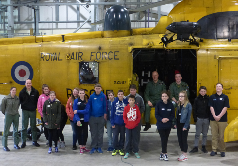 Jon Egging Trust leadership students say a farewell to the search and rescue team at RAF Leconfield